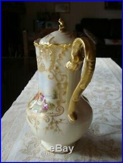 Antique Limoges France Hand Painted Chocolate Coffee Tea Pot, Heavy Gold, 10