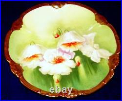 Antique Limoges Hand Painted WHITE POPPIES Cabinet Plate Signed A. Roux