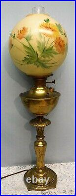 Antique Miller Brass Victorian Banquet Electric Oil Lamp Hand Painted Globe