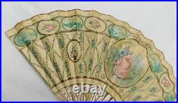 Antique Mother Of Pearl And Hand Painted Paper Signed Hand Fan