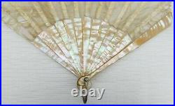 Antique Mother Of Pearl And Lace Hand Fan