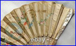 Antique Mother Of Pearl And Silk Hand Fan
