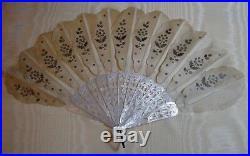 Antique Mother Pearl + Silk Hand Fan-Custom Framed-Original-Sequins