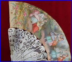Antique Mother of Peal and Paper Hand Fan