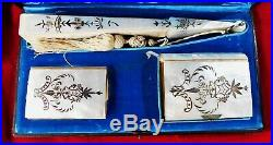Antique Mother of Pearl signed Hand Fan, Dance Card and first Communion Book
