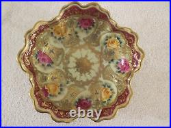 Antique Nippon Moriage Beads Gold Gilt & Hand Painted Roses 10 Serving Bowl