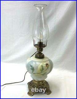 Antique Oil Lamp Hand Painted Milk Glass Floral GWTW Banquet Converted Electric
