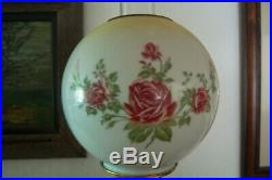 Antique Oil Lamp conversion with hand painted globe