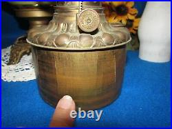 Antique Oil/kerosene Lamp Electrified Gwtw Hand Painted Ball Shade Clear Chimney