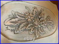 Antique Oval Wood Coffee Tea Table withGlass Top Serving Tray, Hand Carved, Small