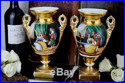 Antique PAIR french hand paint vieux pari porcelain victorian