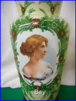 Antique Pair Bristol Glass Hand Painted Transfer Portrait Vases 11 1/2 L@@K