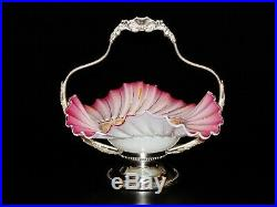 Antique Pair point Silver Plate Brides Basket with Pink Hand painted Ruffle Bow