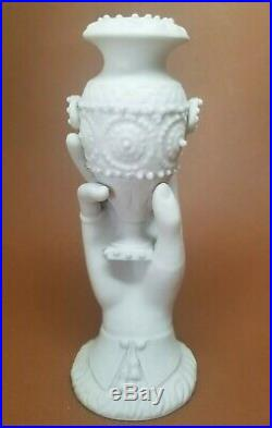 Antique Parian Ware Porcelain Staffordshire Victorian Hand Vase Urn 7.5 #2
