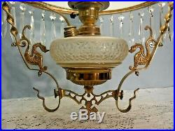 Antique Parlor Ceiling Light Hand Painted Floral Flower Library Chandelier 1887