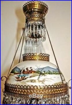 Antique Parlor GWTW Lamp Hand Painted Shade Brass Bird Frame Prisms