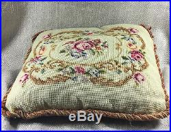 Antique Petite point needlework cushion Pillow Victorian Hand Sewn Embroidery
