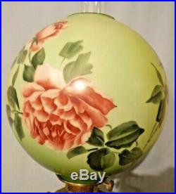 Antique Piano Lamp Brass & Marble Cherubs Large Hand Painted Floral Shade Globe