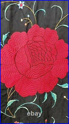 Antique Piano Shawl Hand Embroidery Silk Vintage Roses 1910 Stunning