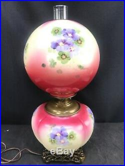 Antique Pittsburgh Success GWTW Oil Lamp Gone With The Wind Hand Painted Glass
