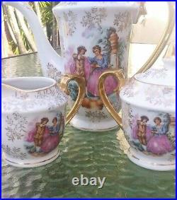 Antique Porcelain Tea Demitasse Set for 6. Hand Painted Gold Trim 17 PCS. EXC