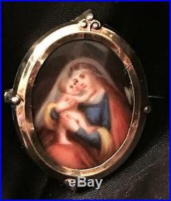 Antique Portrait Brooch Hand Painted Sterling Silver Locket Madonna Victorian