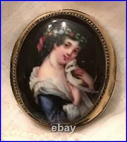 Antique Portrait Brooch Pendant Cameo Hand Painted Porcelain Victorian Bird Pin