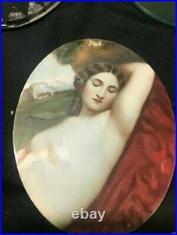 Antique Portrait Hand Painted Signed Brass Miniature Frame Victorian VintageRare