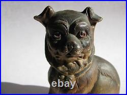 Antique Pug Dog Figurine Victorian Bisque Hand painted very good 4755 bull