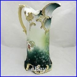Antique R. S. PRUSSIA Art Nouveau Hand Painted PITCHER Mold 586 Water Victorian
