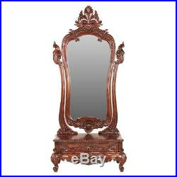 Antique Replica Victorian Style Hand-Carved Solid Mahogany 74 Dressing Mirror