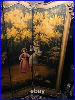 Antique Room Divider Hand Painted Victorian / Colonial Scene 6ft -Beautiful