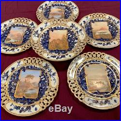 Antique Set of 6 rear Coalport hand painted scenic cake and dessert plates