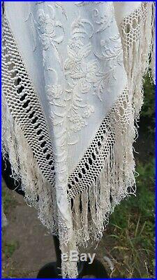 Antique Shawl Canton Piano Hand Embroidery Cream Silk Vintage Wedding Cape Stole