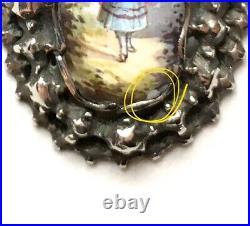 Antique Silver & Hand Painted Enamel Pendant, Late Georgian / Victorian