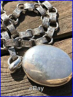 Antique Silver Victorian Double Locket And Collar Necklace Hand Engraved