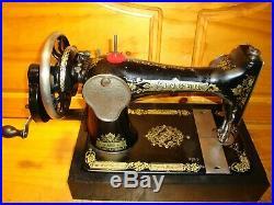 Antique Singer Sewing Machine Model 28k Victorian Hand Crank, Serviced