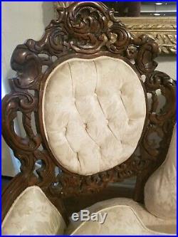 Antique Solid Hardwood Hand Carved Italian Sofa Set Sofa Loveseat Victorian rare