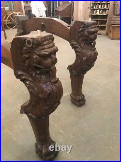 Antique Solid Oak Massive Hand Carved Griffin Round Dining or Library Table
