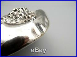 Antique Sterling Silver Victorian Chased Hand Mirror Hair Brush Ornate Repousse