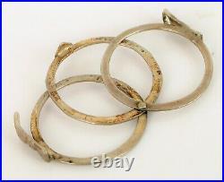 Antique Sterling Silver Victorian Era Fede Gimmel Ring Holding Hands Size 7