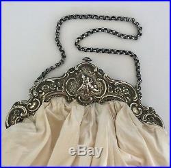 Antique Sterling Silver & White Silk Wedding Evening Hand Bag Engraved Cherubs