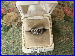 Antique Sterling Victorian Forget Me Not Flower Hand Wrought Ring Band Size 6