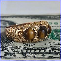 Antique VICTORIAN Hand Engraved 14K RING+Tiger Eye-Women's Sz 7 1/4-EX! -5.3g