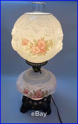 Antique VICTORIAN Hand-Painted Floral Electric Double Globe Lamp Milk Glass 21.5