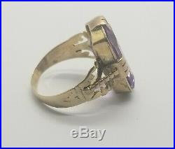 Antique Victorian 10K Gold Amethyst Ring withhand engaving size 8