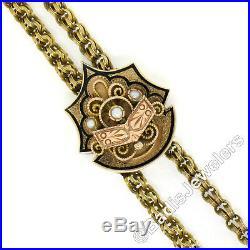 Antique Victorian 10K Gold Pearl Enamel Hand Etched Slide Mobile Pendant & Chain