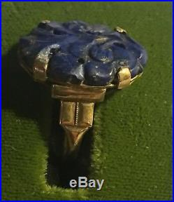 Antique Victorian 10K Rose Gold Hand Carved Blue Lapis Ring Size 6