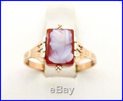 Antique Victorian 10K Rose Gold Hand Carved Carnelian Ring Size 6 1/2