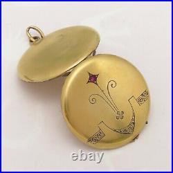 Antique Victorian 10k Gold Filled Hand Etched Paste Locket Pendant